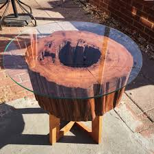 Cherry Wood Side Table Live Edge Cherry Wood Side Table Glass Top 17 Tall X 17 Wide