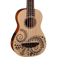 luna guitars tattoo ukulele acoustic electric bass guitar center