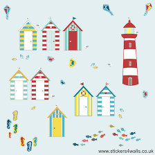 seaside beach hut wall stickers fabristick fabric wall stickers beach hut wall stickers