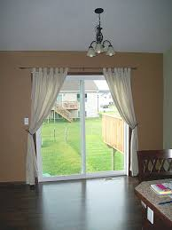 curtains for sliding glass doors in kitchen long cream curtains with white draper for sliding glass door