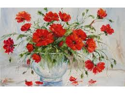 Vase With Red Poppies Home Wall Art Decor Stretched Hand Embellished Print On Canvas Of