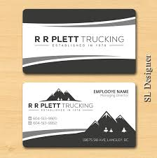 playful business card design for r r plett trucking ltd