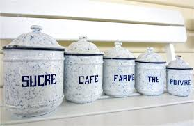 blue and white kitchen canisters set french enamel canisters sold my french finds
