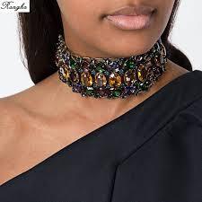 black choker necklace aliexpress images Brand big rhinestone choker necklace 2017 bib statement necklace jpg