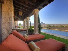 Tuscan Patio Decorating Ideas by Furniture Orange Cushions Patio Chaise Lounge With Wood Ceiling