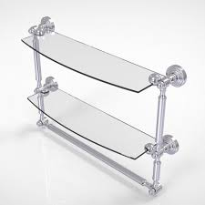 Bathroom Glass Shelves With Towel Bar Allied Brass Waverly Place Collection 18 In 2 Tiered Glass Shelf