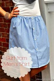 upcycled mens shirt into a skirt cleverlyinspired 3 cv crafts