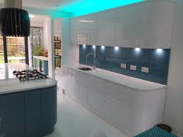 handleless white u0026 blue german kitchen bishops stortford blax