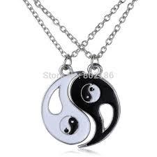 aliexpress yang 2p set yin yang pendant necklace black white couple sister friend