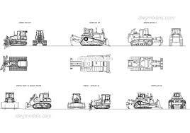 crawler tractor bulldozer dwg free cad blocks download