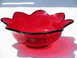 Red Vases And Bowls Mid Century Modern Vintage Red Glass Bowl Flower Shape