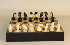 hand carved chess set turtle theme tagua nut chess pieces