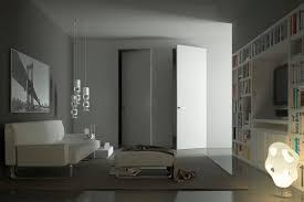 Flush Interior Door by Interior Door Pivoting With Offset Axis Wooden Flush