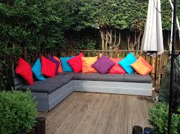Seating Out Of Pallets by Seating Made Out Off Pallets And Decking Boards Outside