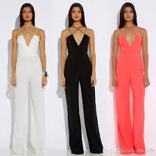 strappy jumpsuit fashion wide leg jumpsuit for v neck strappy