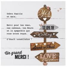 remerciement mariage original carte lunch ou remerciements crème pancarte bois belarto