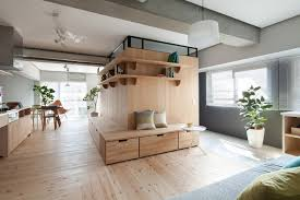 l shaped wood partition unifies all areas in small practical