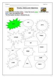 english worksheets colour the bubble nouns verbs and adjectives