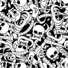 bones seamless pattern skeleton background skull ornament ana