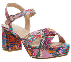 office mountain platform sandals pink floral satin mid heels