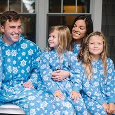 sleepytimepjs family matching blue snowflake fleece onesie
