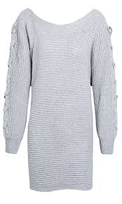 Watch Me Now Heather Grey Long Sleeve Off The Shoulder Lace Up