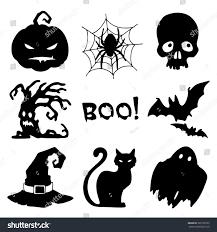 halloween background silhouettes halloween symbols set nine silhouettes on stock vector 326189735