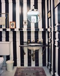 Striped Bathroom Walls Bold And Beautiful Black And White Stripes In Every Room