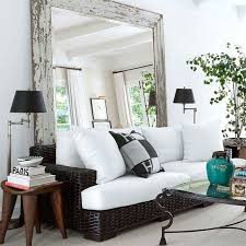 Large Wall Mirrors For Living Room Love The Big Mirror Behind The Couch Should Make A Small Room