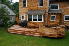 elegant backyard deck ideas with natural wooden floor tile and