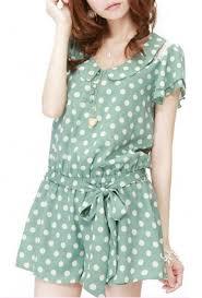 romper easily amused polka dot flutter sleeve green tea romper