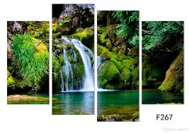 Painting Home by Online Cheap 4panel Nature Scenery Waterfall Trees Painting Home