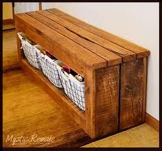 Storage Benche Pallet Wood Storage Bench Hometalk