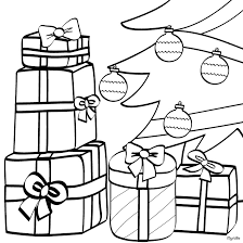 coloring page of christmas tree with presents present under christmas tree coloring page get coloring pages