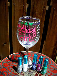 Glass With Pink Birthday Girl Words bined With Green Drink Up