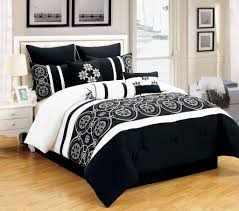 bedroom awesome 9 piece tamara black and white queen bedding set