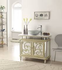 Champagne Gold Color Mirrored Reflection Idella Vessel Sink - Bathroom vanity for vessel sink