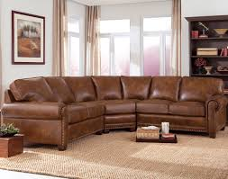 curved leather couch curved brown leather sectional sofa with ruched armrest and