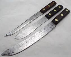 vtg carbon steel 3 knives razor sharp robeson lot walnut handles
