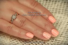 gelish salmon pink nails with konad stamping by www