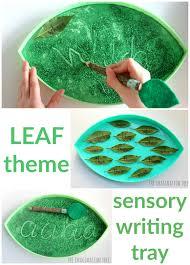 leaf shaped writing paper sensory writing in fairy dust the imagination tree leaf sensory writing tray