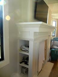 custom fireplace mantel with storage for media components our