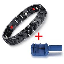 power health bracelet images Black men 39 s health bracelets bangles magnetic h power stainless jpg