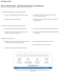 quiz u0026 worksheet identifying allusion in literature study com