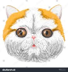 vector sketch stylized kittens face smiling stock vector 275697020