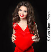 stock photos of beautiful brunette with curly hairs in red
