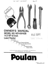 poulan lawn mower hd145h42b user guide manualsonline com