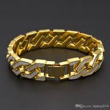 cuban chain bracelet images Cuban link chain bracelet for mens iced out hip hop bracelets jpg