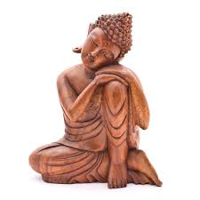 leaning buddha statues wood carved 12inches 30cm sale from indonesia