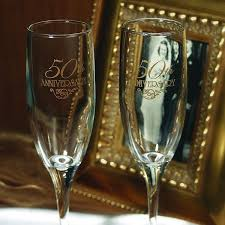 50th anniversary plate engraved 50th anniversary toasting flutes set